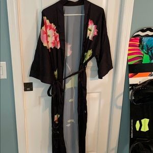 Long flower kimono with tie